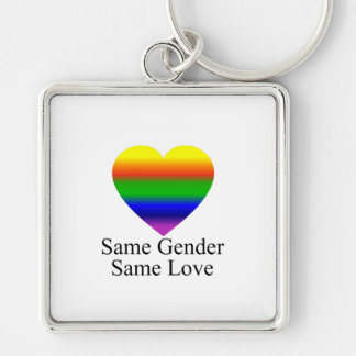 Lesbian Love Wins Silver-Colored Square Key Ring