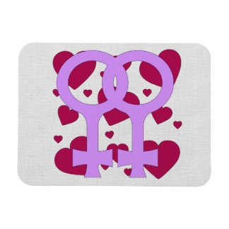 Lesbian Marriage Hearts Rectangular Photo Magnet