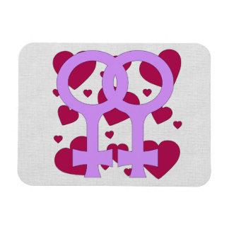 Lesbian Marriage Hearts Rectangular Photo Magnet
