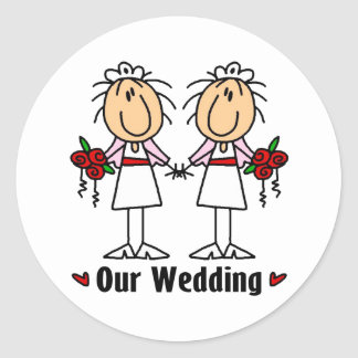 Lesbian Marriage Round Stickers