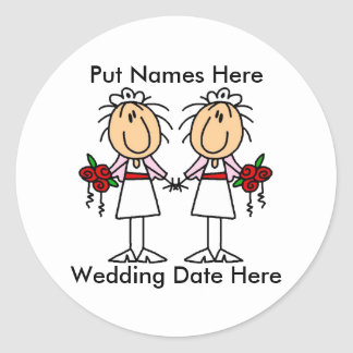 Lesbian Marriage To Customize Classic Round Sticker