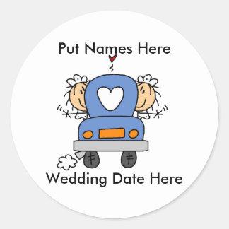 Lesbian Marriage To Customize Round Sticker