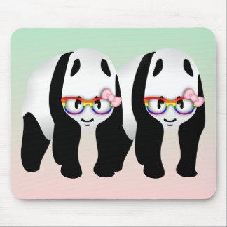 Lesbian Pride Pandas Wearing Rainbow Glasses Mouse Pad