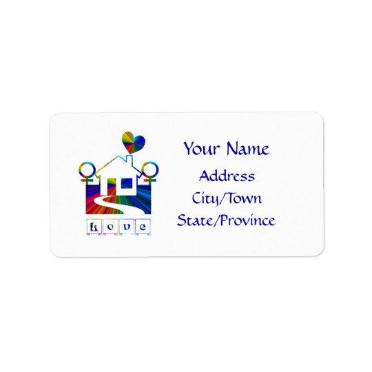 Lesbian rainbow home- LOVE Address Label