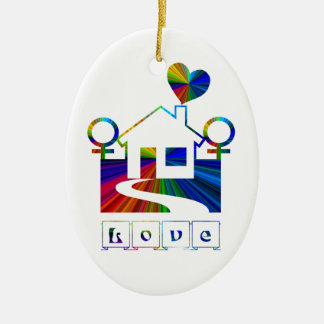 Lesbian rainbow home-with Proverb Christmas Ornament