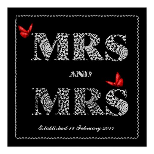 Lesbian Same Gender Wedding Gift Lace Word Art Poster Zazzle