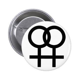 Lesbian symbol button - white
