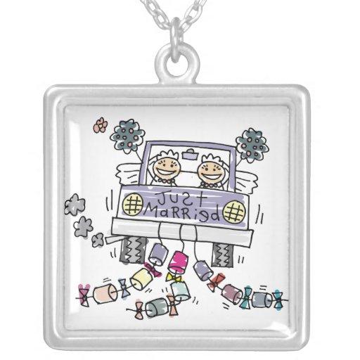 Lesbian Wedding Brides Square Pendant Necklace