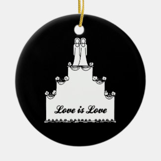 LESBIAN WEDDING CAKE LOVE CHRISTMAS ORNAMENT