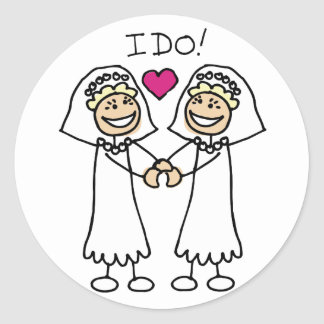 Lesbian Wedding Favors Round Stickers
