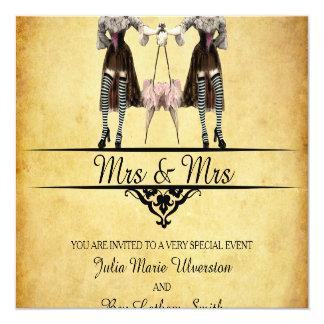 Lesbian Wedding - Gothic Steampunk Style 13 Cm X 13 Cm Square Invitation Card