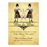 Lesbian Wedding - Gothic Steampunk Style 13 Cm X 18 Cm Invitation Card
