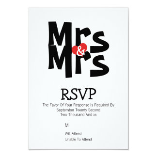 Lesbian Wedding RSVP Bold Mrs and Mrs Personalized 9 Cm X 13 Cm Invitation Card