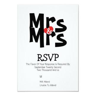 Lesbian Wedding RSVP Bold Mrs and Mrs Personalized 9 Cm X 13 Cm Invitation Card