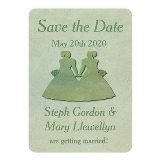 Lesbian Wedding Save the Date Card - Mint Rustic 11 Cm X 16 Cm Invitation Card