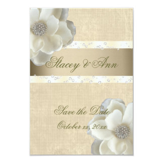 Lesbian Wedding Save the Date White Roses & Bling. 9 Cm X 13 Cm Invitation Card