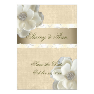 Lesbian Wedding Save the Date White Roses Bling Announcements
