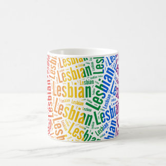LESBIAN WORD PATTERN COLOR COFFEE MUGS