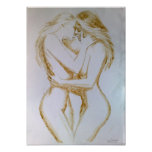 Lesbians kissing, coffee painting posters