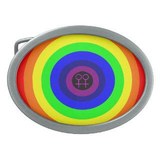 Lesbians Round Rainbow Belt Buckle