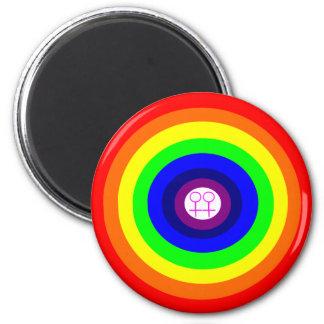 Lesbians Round Rainbow Magnet