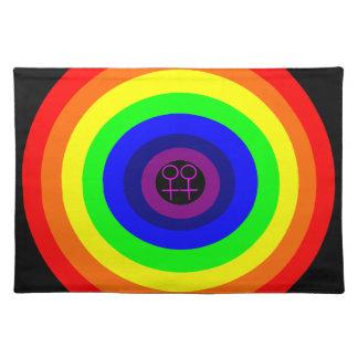 Lesbians Round Rainbow Placemat