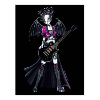 """Leslie"" Black Beauty Guitar Rocker Fairy Postcard"