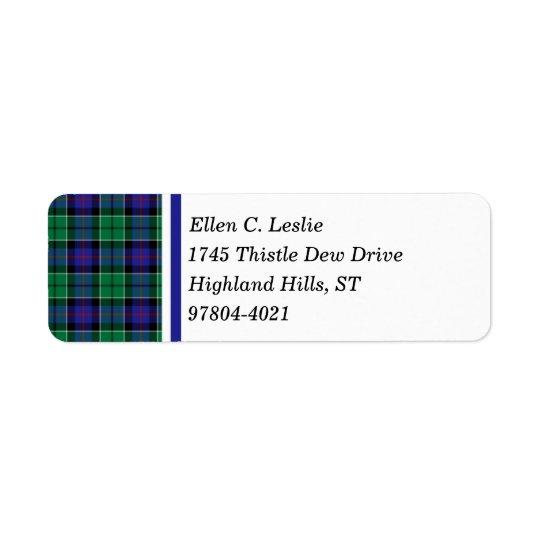 Leslie Clan Royal Blue and Green Scottish Tartan