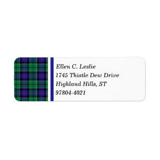 Leslie Clan Royal Blue and Green Scottish Tartan Return Address Label