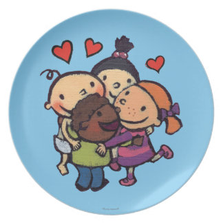 Leslie Patricelli Group Hug with Friends Dinner Plates