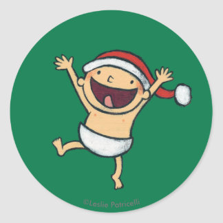 Leslie Patricelli's Baby Dancing In Santa Hat Round Sticker