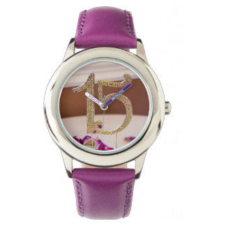 Leslie's Quinceanera Stainless Steel Purple Watch