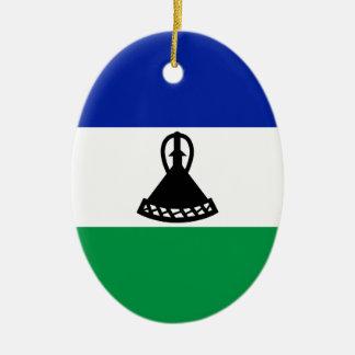 Lesotho Flag Ceramic Oval Decoration