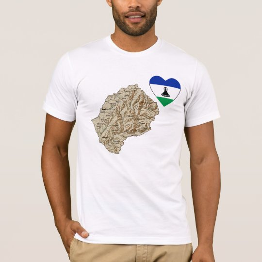 Lesotho Flag Heart and Map T-Shirt