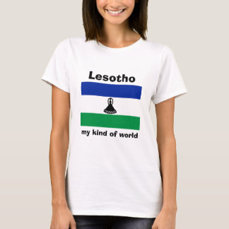 Lesotho Flag + Map + Text T-Shirt