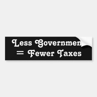 Less Government = Fewer Taxes Bumper Sticker