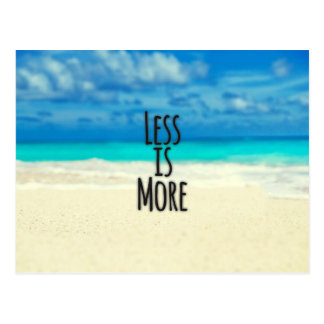 """Less is More."" Typography Abstract Beach Scene Postcard"