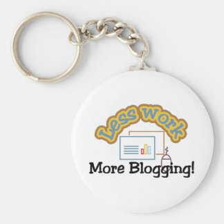 Less work, more blogging T-shirts and Gifts. Basic Round Button Key Ring