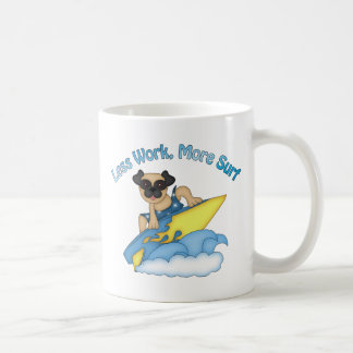 Less Work More Surf Pug Surfer Tees and Gifts Basic White Mug