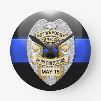 Lest We Forget - Thin Blue Line Badge Round Clock