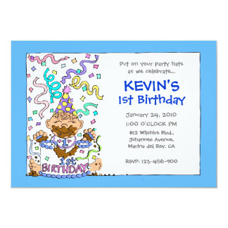 Let 'Em Eat Cake - 1st Birthday for Baby Boy 5x7 Paper Invitation Card