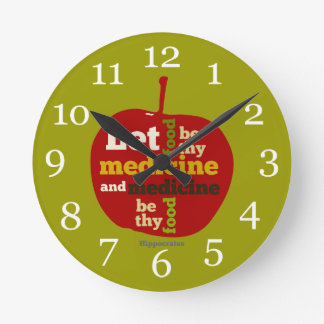 Let Food be thy Medicine APPLE Round Clock