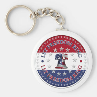 Let Freedom Ring Liberty Bell 13 & 50 Stars round Basic Round Button Key Ring