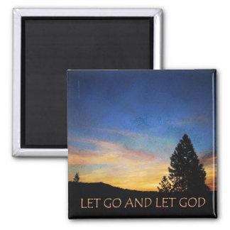 Let Go and Let God Blue Orange Magnet