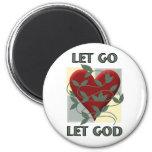 Let Go Let God 6 Cm Round Magnet