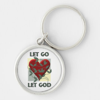 Let Go Let God Silver-Colored Round Key Ring