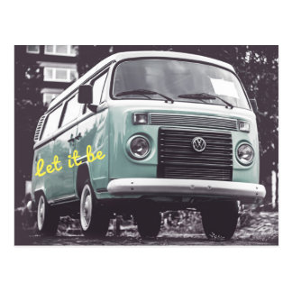Let It BE Hippy Flower Child Van Postcard