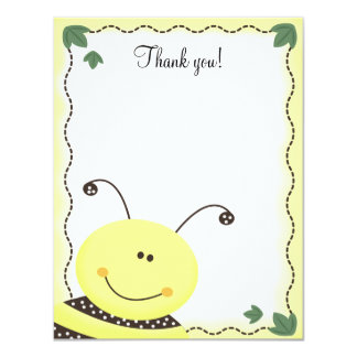 Let it Bee Bumble Bees 4x5 Flat Thank you note 11 Cm X 14 Cm Invitation Card