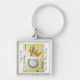 Let it Rain... Silver-Colored Square Key Ring