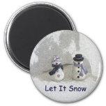 Let It Snow 6 Cm Round Magnet